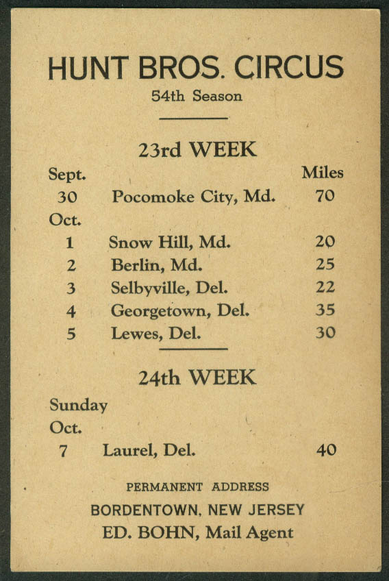 Hunt Bros Circus Route Card 9/30-10/7 1946 Maryland Delaware stops