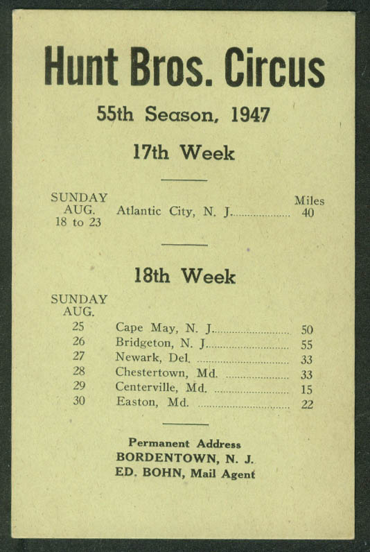 Hunt Bros Circus Route Card 8/18-30 1947 New Jersey Maryland stops