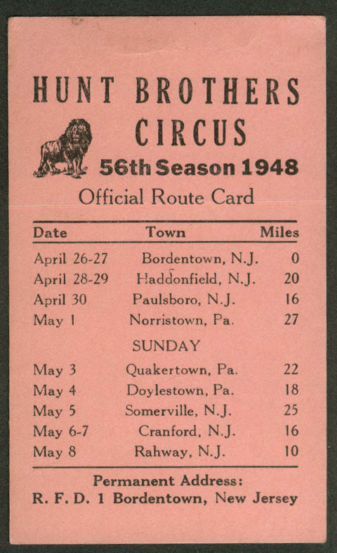 Hunt Bros Circus Route Card 4/26-5/8 1948 New Jersey Pennsylvania stops