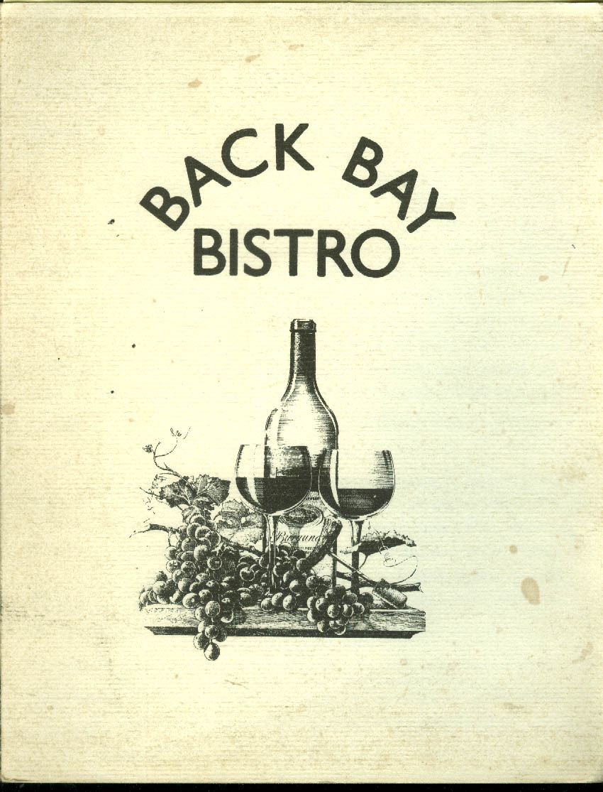 Back Bay Bistro Menu 5/12 1989