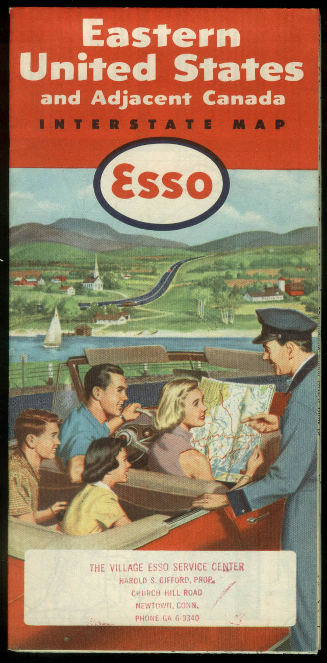 Esso Gasoline Road Map Easter United States Interstate Map 1954