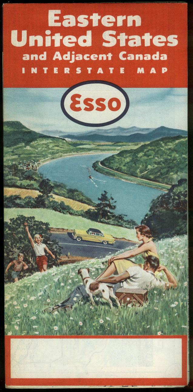 Esso Gasoline Road Map Eastern United States Adjacent Canada 1957