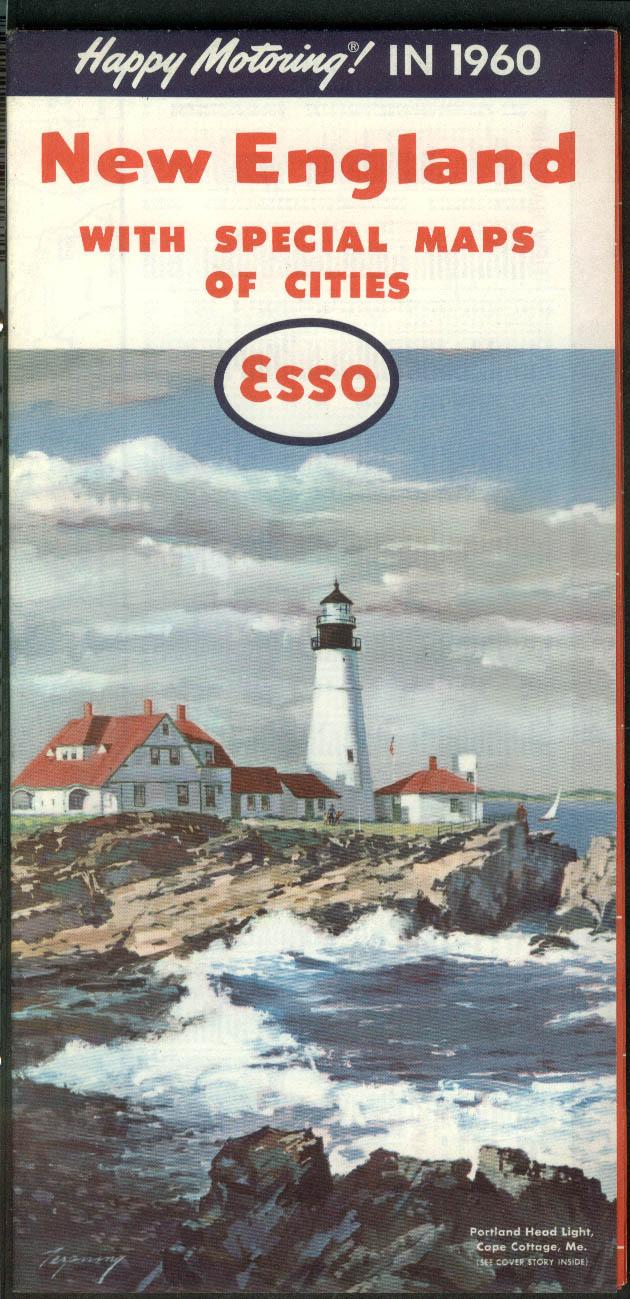 Esso Gasoline Road Map New England & City Maps 1960 Oil Drop Man salutes
