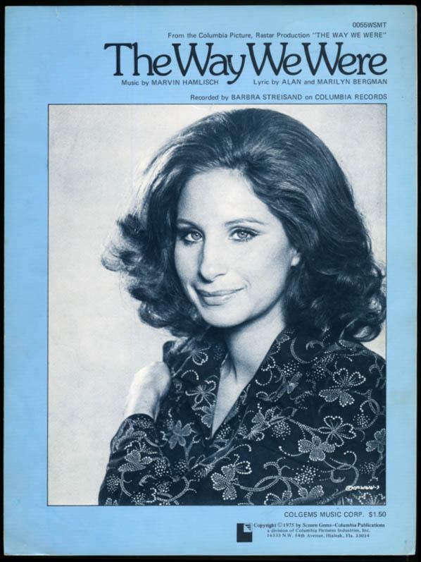 The Way We Were sheet music Barbra Streisand Marvin Hamlisch 1973
