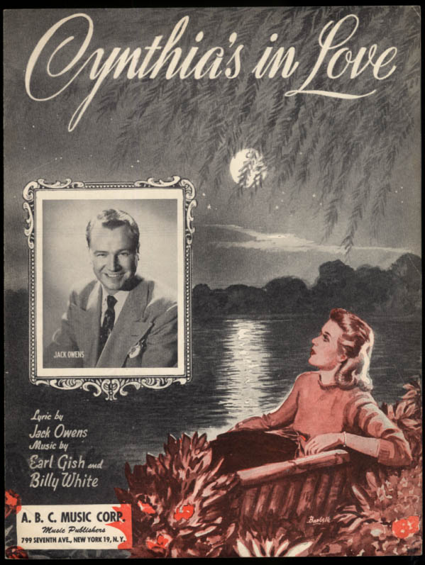 Cynthia's in Love sheet music Jack Owens Gish & White 1942 Barbelle art