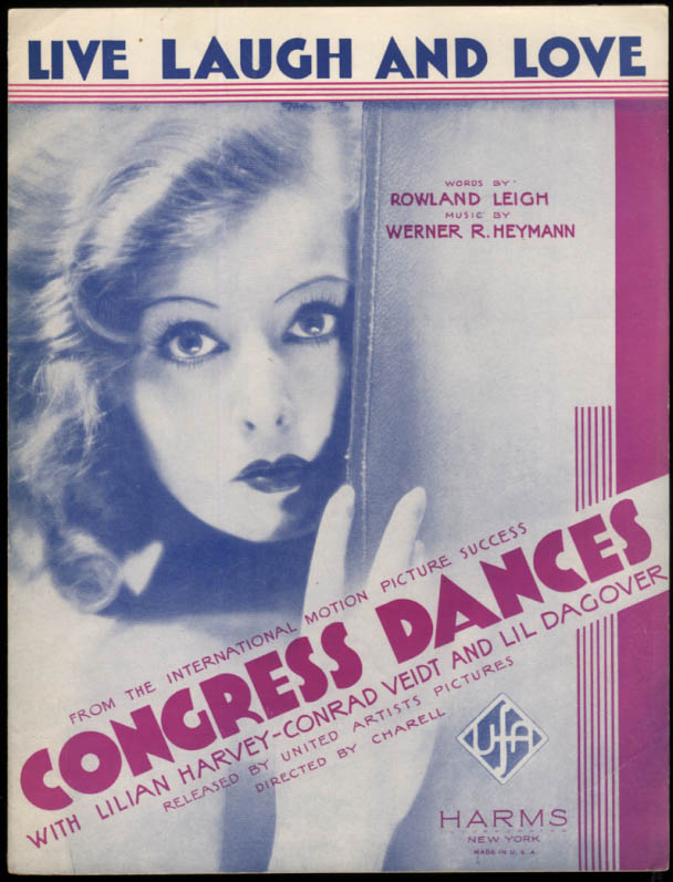 Live Laugh and Love sheet music from Congress Dances 1932 Lilliam Harvey