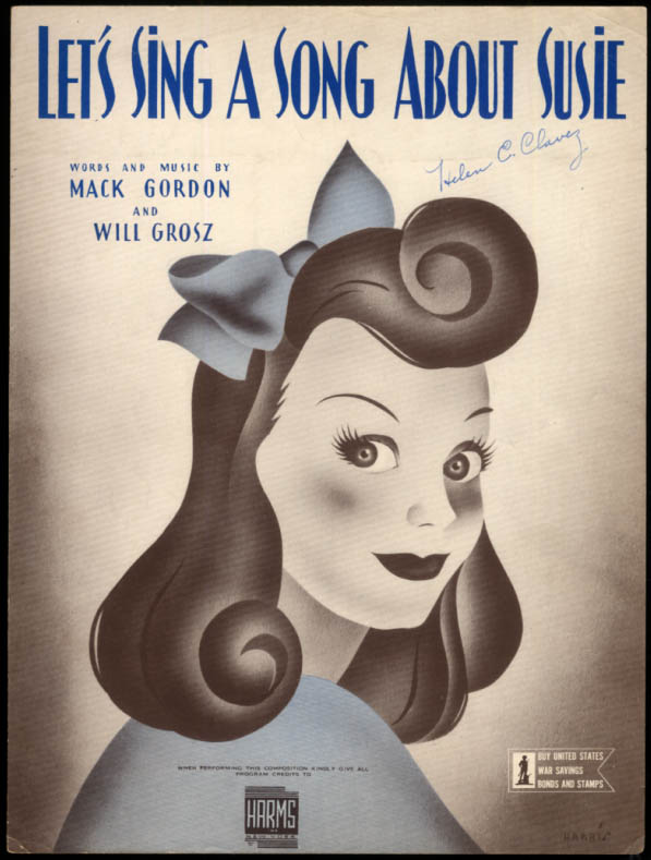 Let's Sing A Song About Susie sheet music Gordon & Grosz 1943