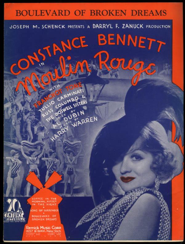 Boulevard of Broken Dreams sheet music from Moulin Rouge Constance Bennett 1933