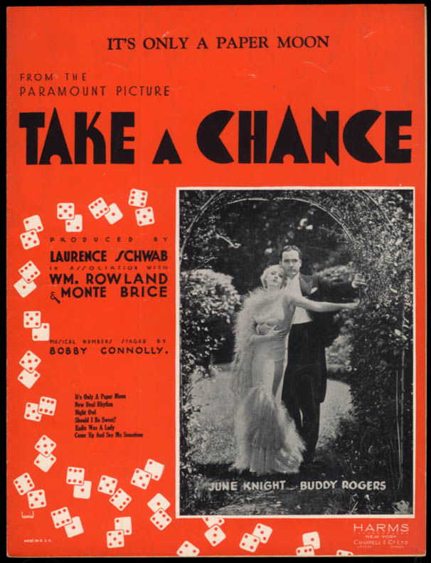 It's Only a Paper Moon sheet music from Take a Chance 1933