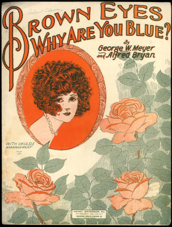 Brown Eyes Why Are You Blue? sheet music Meyer & Bryan 1925 Barbelle art