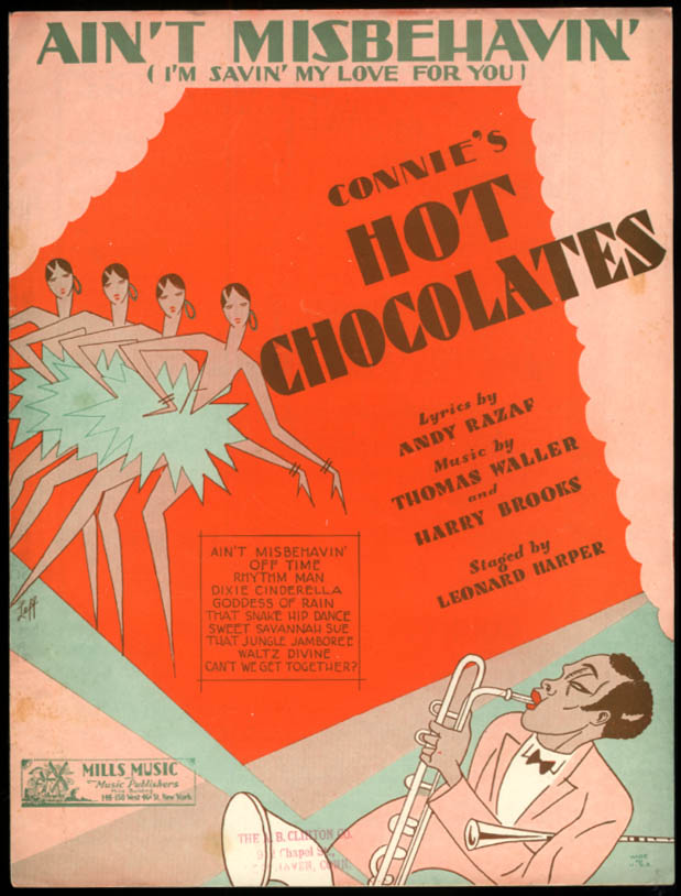 Ain't Misbehavin' sheet music from Connie's Hot Chocolates 1929
