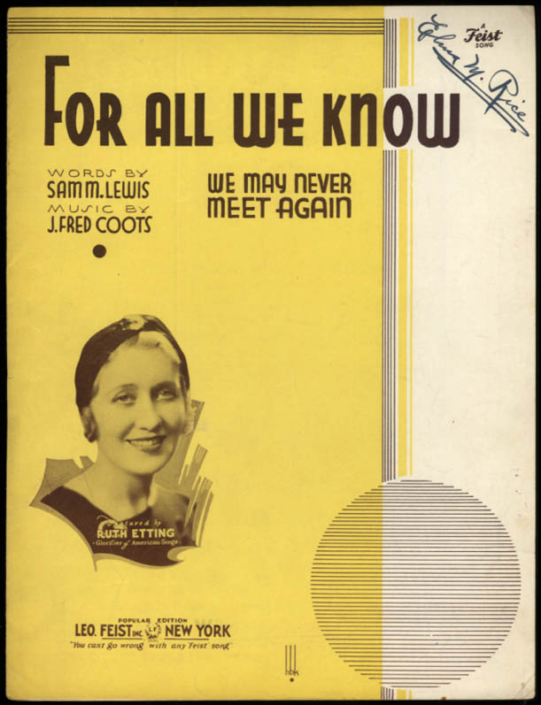 For All We Know sheet music Ruth Etting / Lewis & Coots 1934