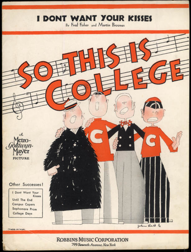 I Don't Want Your Kisses sheet music So This is College John Held Jr art 1929
