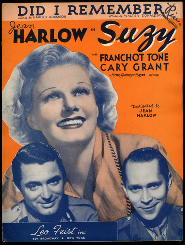 Did I Remember? sheet music Jean Harlow in Suzy w/ Cary Grant 1936