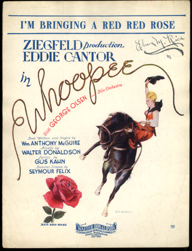 I'm Bringing a Red Red Rose sheet music Eddie Cantor Whoopee 1928 A P Nickel art