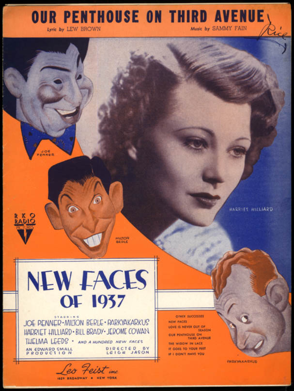 Our Penthouse on Third Avenue sheet music New Faces of 1937 Harriet Hilliard