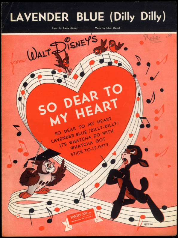 Lavender Blue (Dilly Dilly) sheet music Disney's So Dear to My Heart 1948