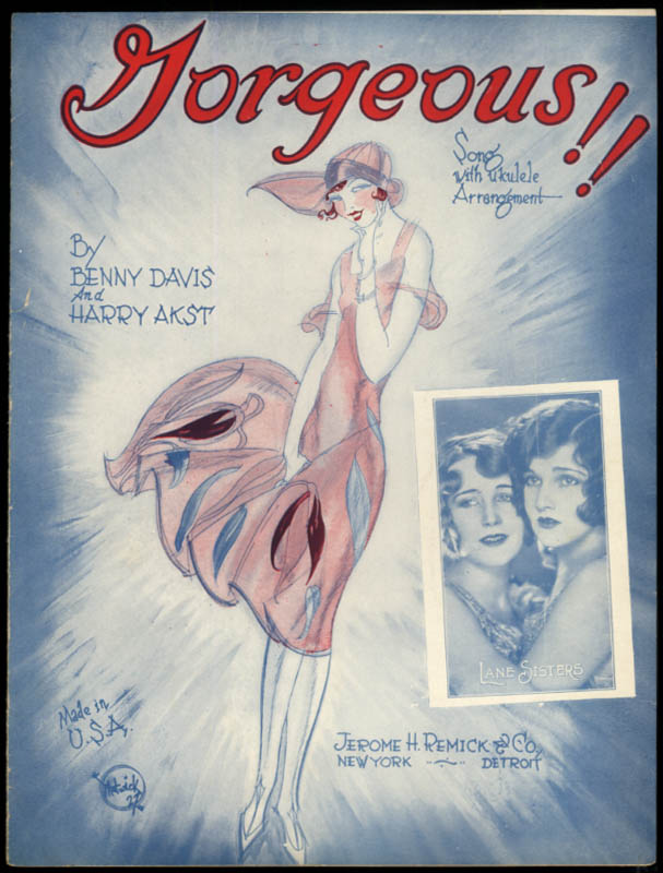 Gorgeous! sheet music Lane Sisters / Davis & Akst 1927 Matwick art Lane Sisters