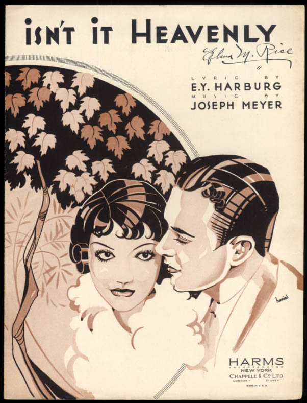 Isn't It Heavenly sheet music by Harburg & Meyer / Harris illustration 1933