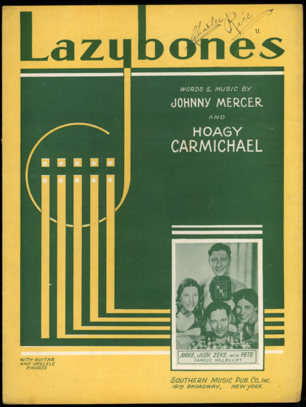Lazybones sheet music by Johnny Mercer & Hoagy Carmichael 1933