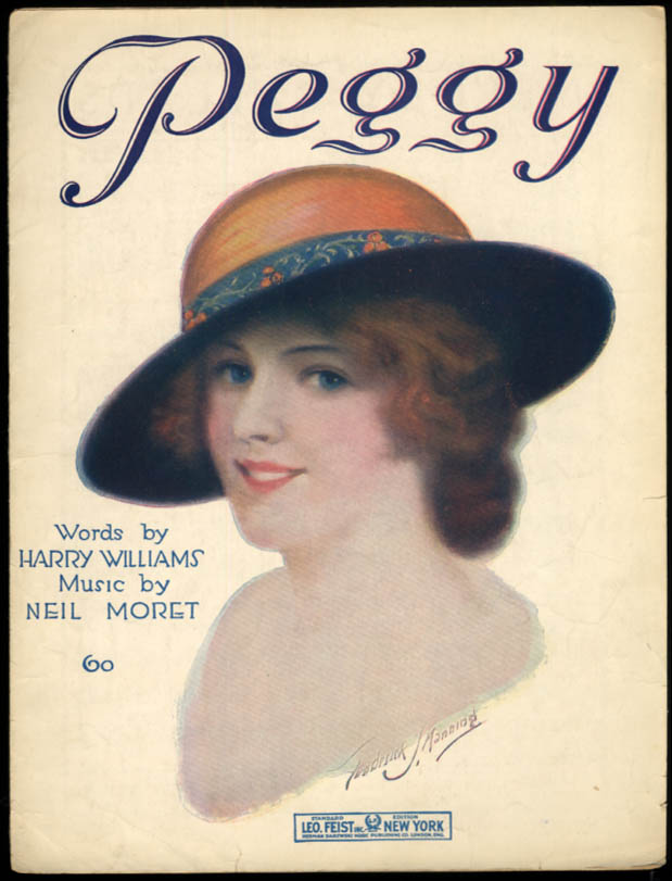Peggy sheet music by Harry Williams & Neil Moret 1919 Frederick S Manning art