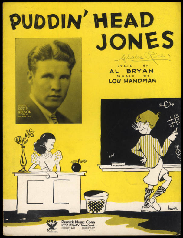 Puddin' Head Jones sheet music Ozzie Nelson / Bryan & Handman schoolroom 1933
