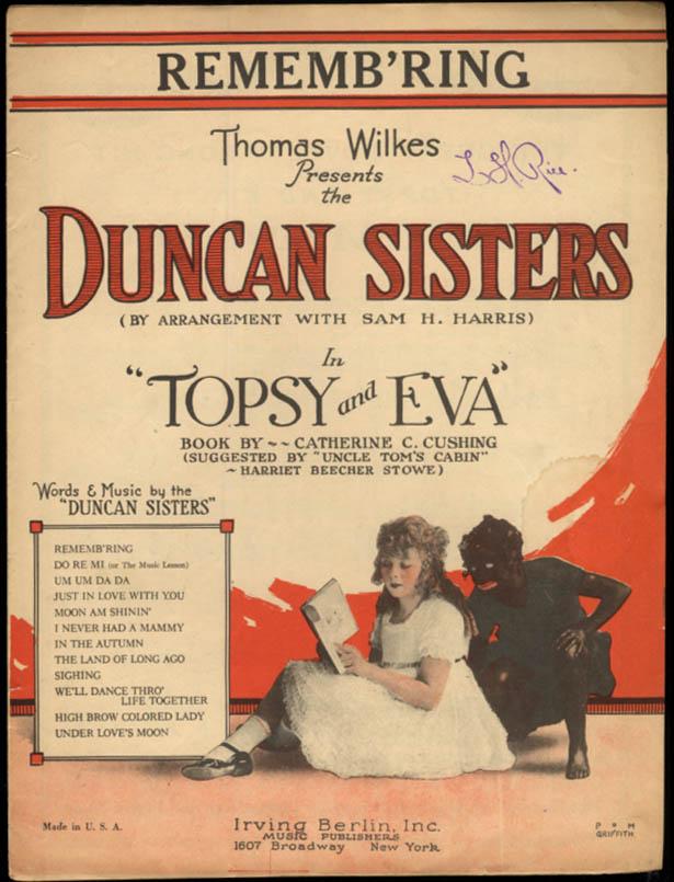 Rememb'ring sheet music Topsy & Eva blackface Duncan Sisters 1923