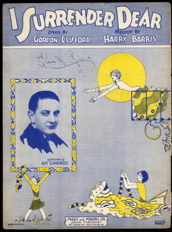 I Surrender Dear sheet music Guy Lombardo / Clifford & Barris 1931