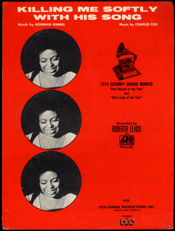 Killing Me Softly With His Song sheet music Roberta Flack / Gimbel & Fox 1972