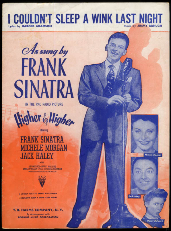 I Couldn't Sleep a Wink Last Night sheet music Sinatra Higher & Higher 1943