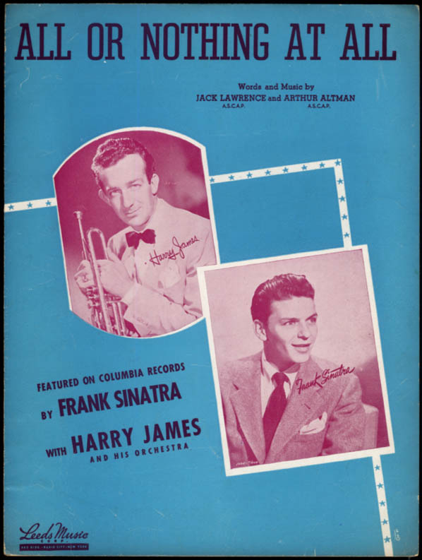 All Or Nothing At All sheet music Frank Sinatra & Harry James Orchestra 1940