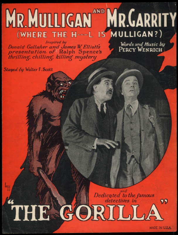 Mr Mulligan & Mr Garrity sheet music The Gorilla / Percy Wenrich 1925