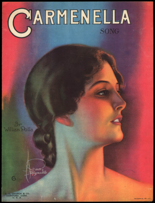 Carmenella sheet music by William Polla / Rolf Armstrong artwork 1920
