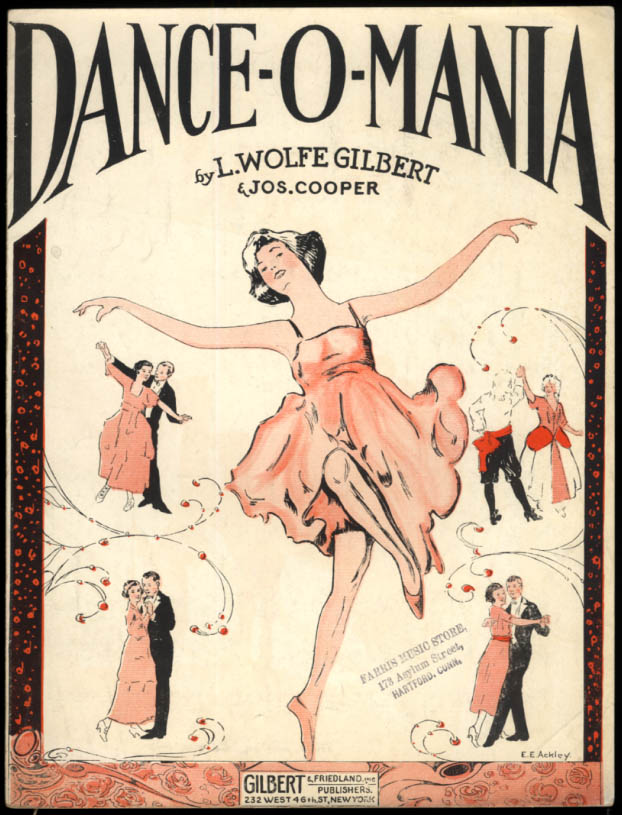 Dance-O-Mania sheet music by Gilbert & Cooper 1920 E E Ackley art
