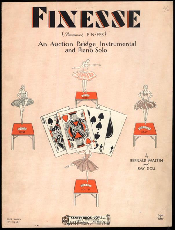 Finesse An Auction Bridge Intrumental & Piano Solo sheet music 1929