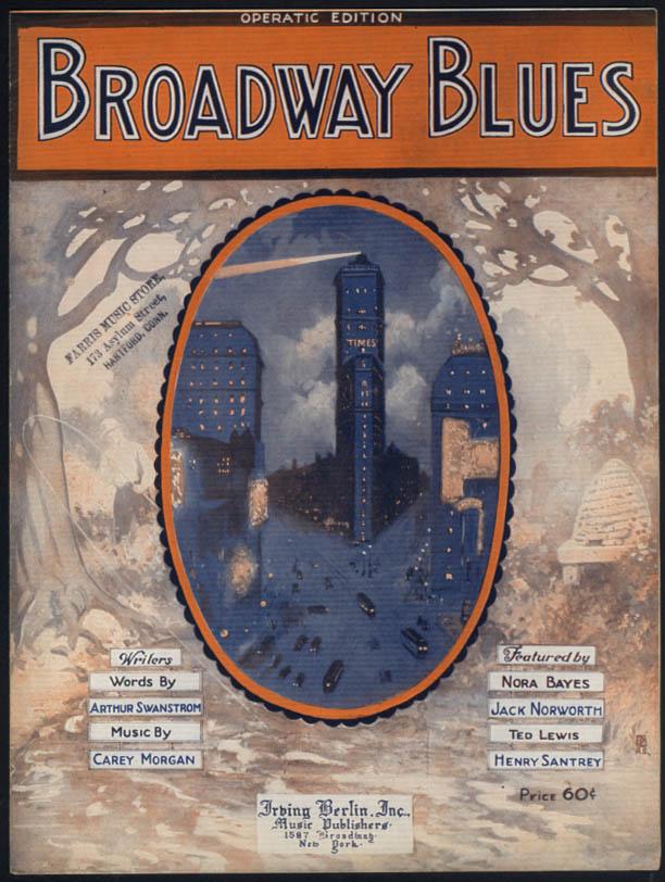 Broadway Blues sheet music Swanstrom & Morgan 1920 NY Times Building