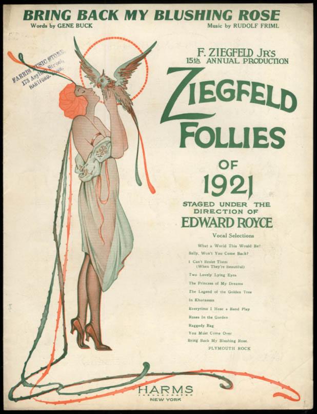 Bring Back My Blushing Rose sheet music Ziegfeld Follies of 1921