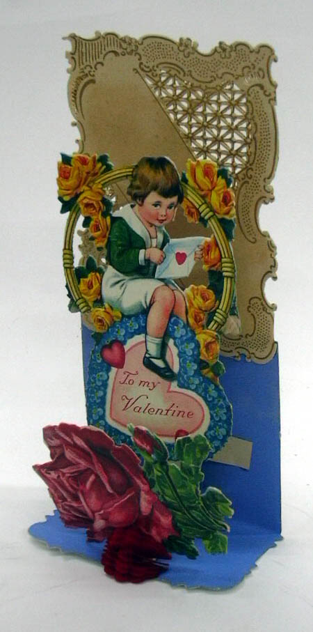 Image for To my dear Valentine boy amid yellow roses 3-D foldout Valentine ca 1910s