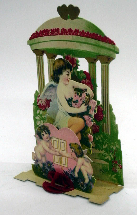 Image for Loving Greeting three cupids with roses 3-D foldout Valentine ca 1910s