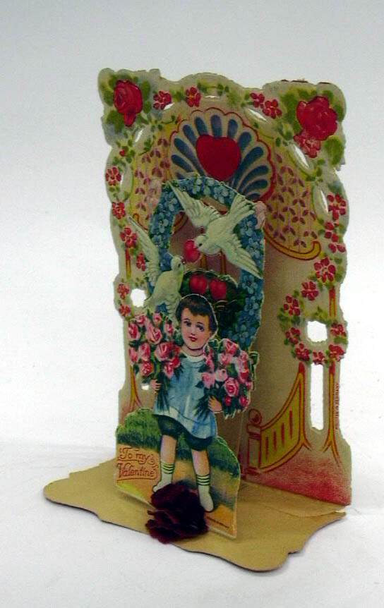 Image for To My Sweetheart boy with 2 armfuls of roses 3-D foldout Valentine ca 1910s