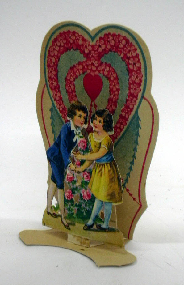 Image for To My Valentine boy & girl exchange roses 3-D foldout Valentine ca 1910s