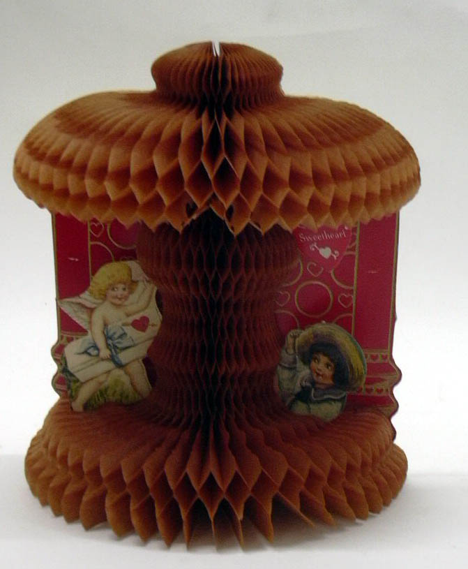 To my Valentine Cupid delivers box to girl 3-D foldout honeycomb Valentine 1910s