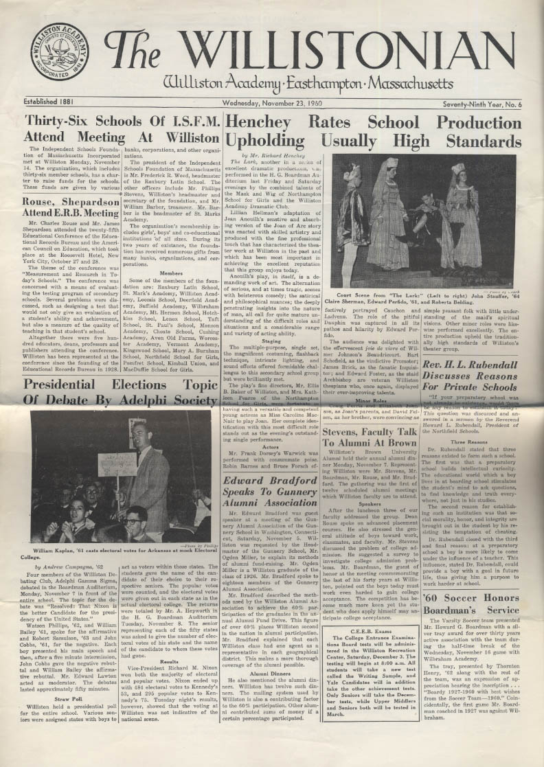 The WILLISTONIAN Williston Academy News 11/22 1960 soccer fotball