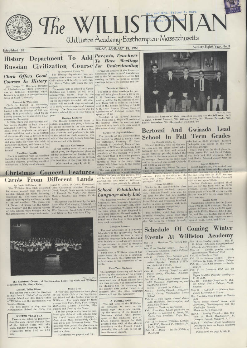 The WILLISTONIAN Williston Academy News 1/15 1960 swimming hockey basketball