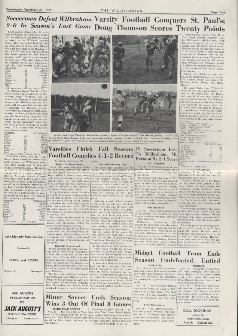 The WILLISTONIAN Williston Academy News 11/25 1959 football, soccer