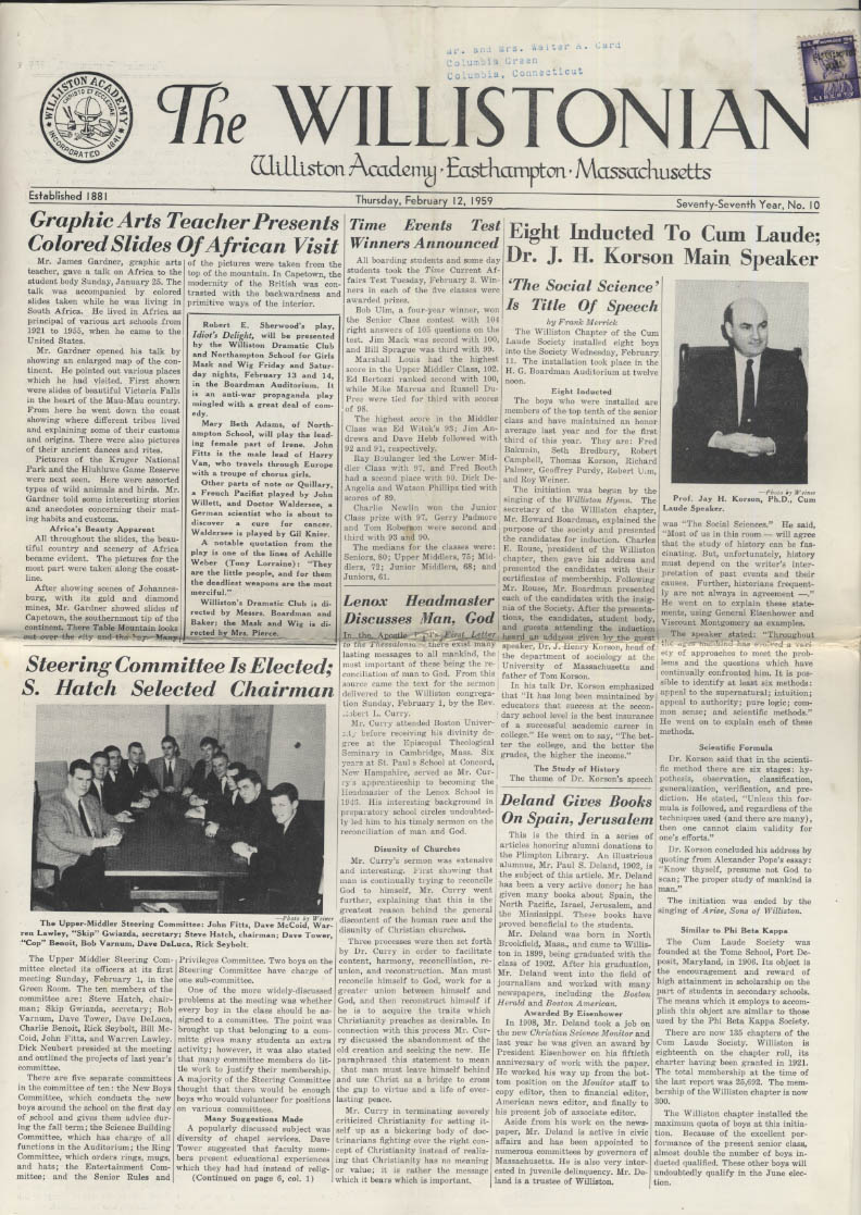 The WILLISTONIAN Williston Academy News 2/12 1959 fine arts basketball hockey +