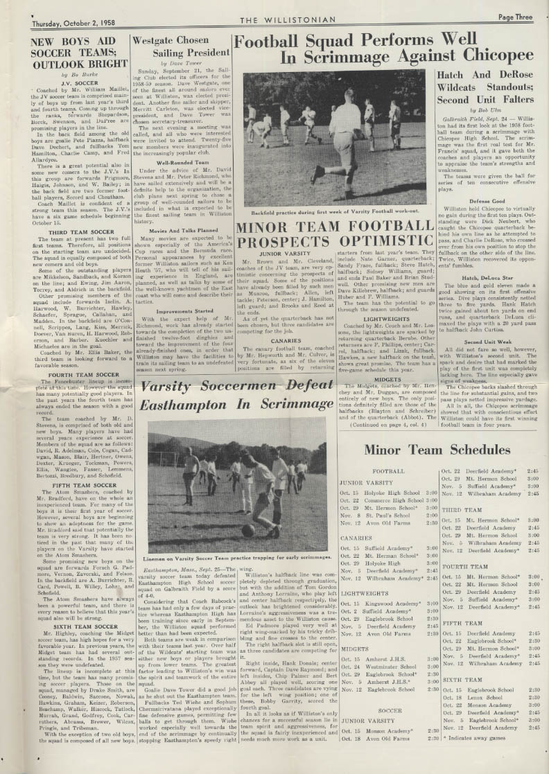 The WILLISTONIAN Williston Academy News 10/2 1958 soccer, football