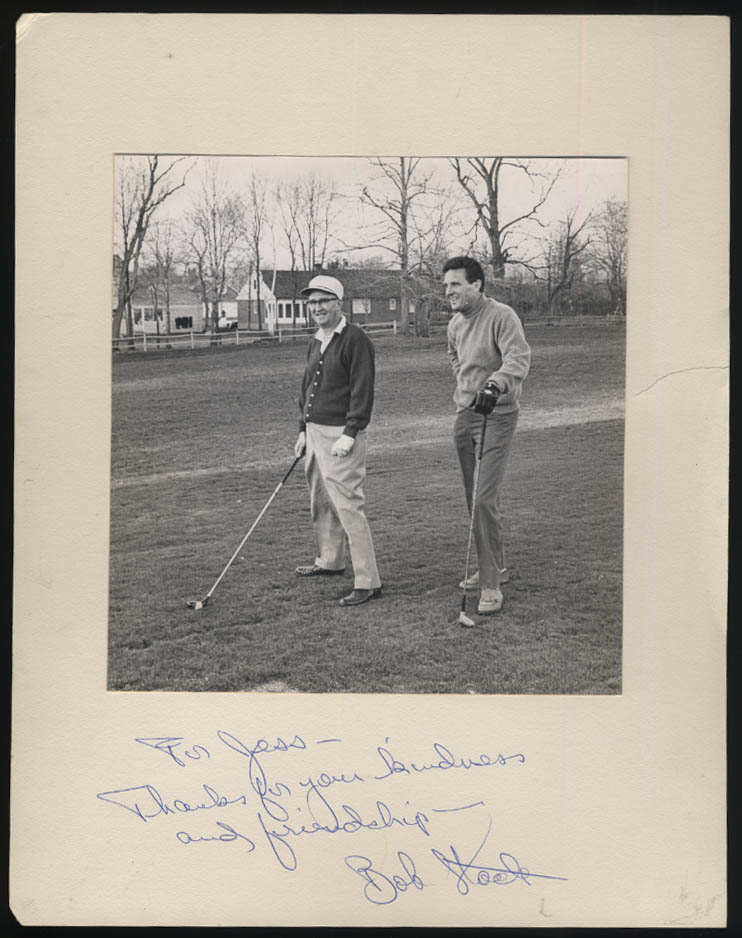 SIGNED photograph Robert Stack playing golf mounted photograph 1960s
