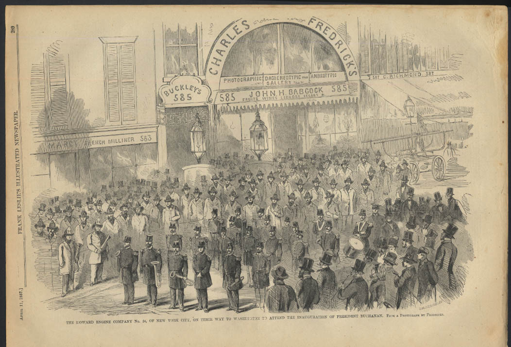 Howard Engine Co. #34 NYC to Pres. Buchanan Inauguration Leslie's page 4/11 1857