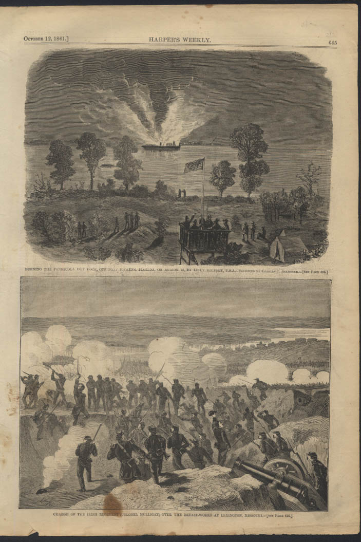 Civil War Missouri / Pensacola Dry Dock burnt Harper's page 10/12 1861 Civil War